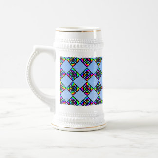 Stained Glass Effect Floral Pattern. Beer Stein
