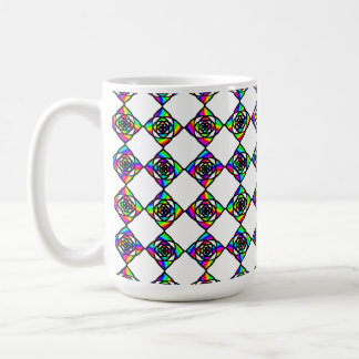 Stained Glass Effect Floral Pattern. Coffee Mug