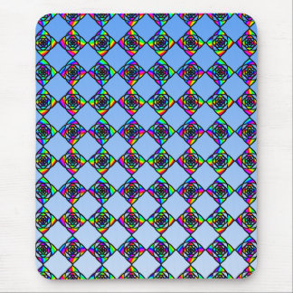 Stained Glass Effect Floral Pattern. Mouse Mat
