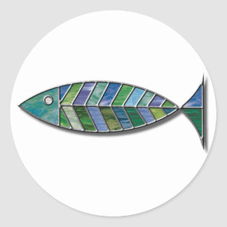 Stained Glass Fish Classic Round Sticker