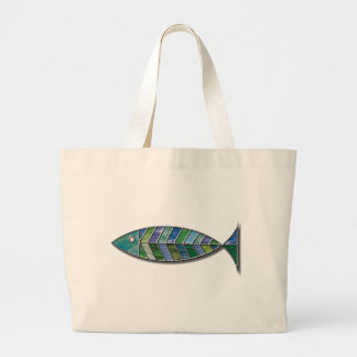 Stained Glass Fish Large Tote Bag