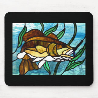 STAINED GLASS FISH MOUSE PAD