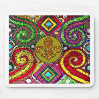 Stained Glass Fleur De Lis Abstract Mouse Mat