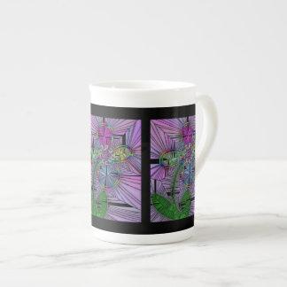 Stained Glass Flower Bone China Mug Tea Cup