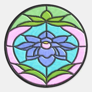 STAINED GLASS FLOWER by SHARON SHARPE Round Sticker