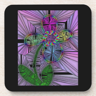 Stained Glass Flower Coaster Set