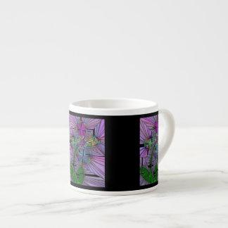 Stained Glass Flower Espresso Mug 6 Oz Ceramic Espresso Cup