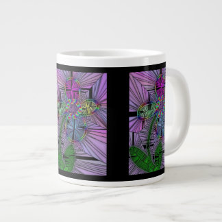 Stained Glass Flower Jumbo Mug 20 Oz Large Ceramic Coffee Mug