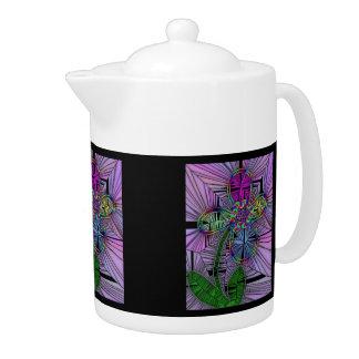 Stained Glass Flower Medium Teapot