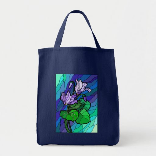 Stained Glass Flower Spray Canvas Bag