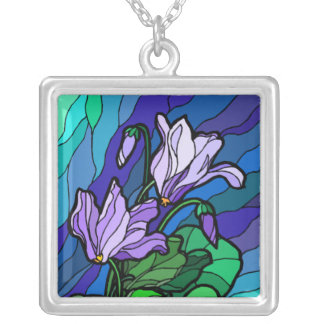 Stained Glass Flower Spray Personalized Necklace