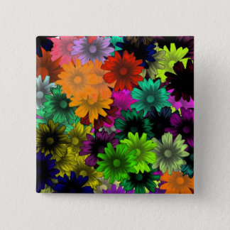 Stained glass flowers 15 cm square badge