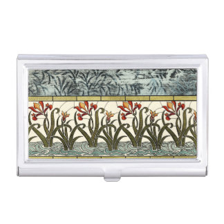 Stained Glass Flowers with Tan Border Business Card Holder
