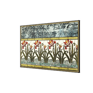 Stained Glass Flowers with Tan Border Canvas Print