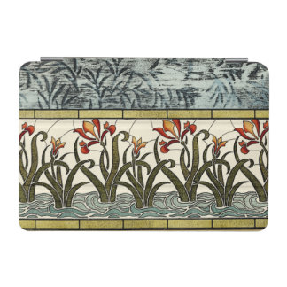Stained Glass Flowers with Tan Border iPad Mini Cover