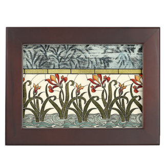 Stained Glass Flowers with Tan Border Keepsake Box