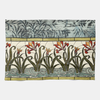 Stained Glass Flowers with Tan Border Kitchen Towel