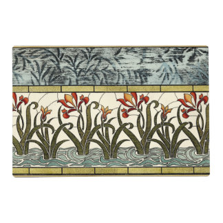 Stained Glass Flowers with Tan Border Laminated Place Mat
