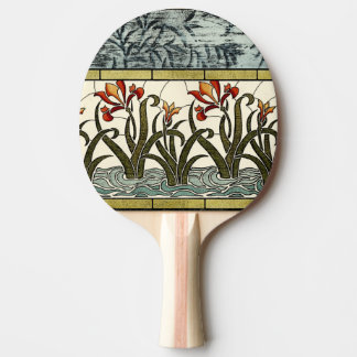 Stained Glass Flowers with Tan Border Ping Pong Paddle