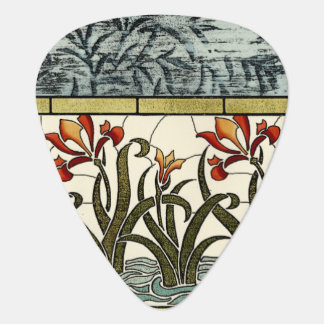 Stained Glass Flowers with Tan Border Plectrum