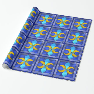 Stained Glass Geometric Moon Blue Wrapping Paper