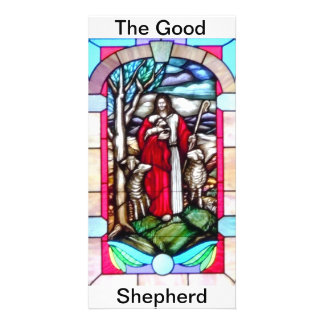 Stained Glass Good Shepherd Personalised Photo Card