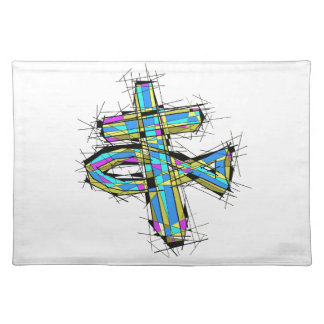 Stained glass graphic of The Cross and The Fish. Place Mats
