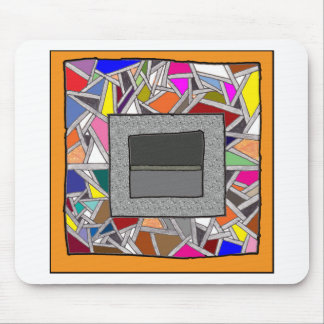 Stained Glass Grey Boxes Mouse Pad