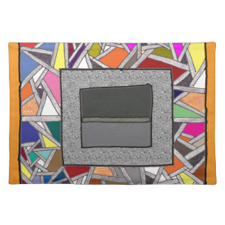 Stained Glass Grey Boxes Place Mat