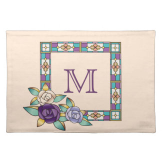 Stained Glass Hand-Drawn Roses Purple Peach Teal Place Mats
