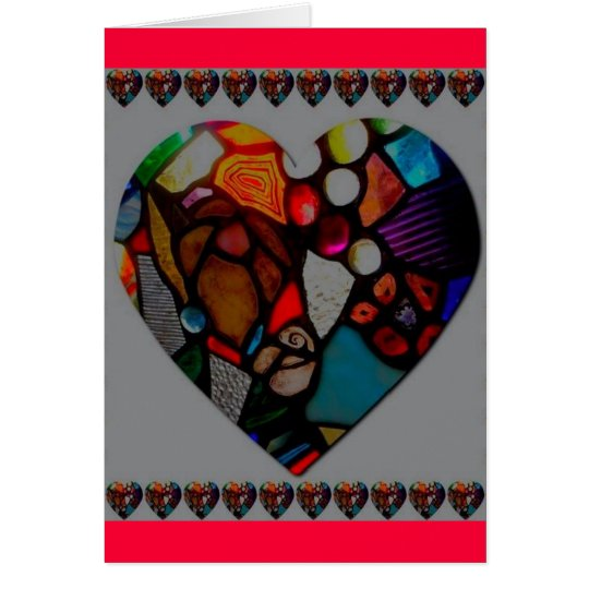 stained glass heart greeting card