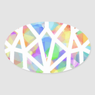 Stained Glass Heart Oval Sticker