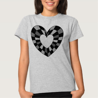 Stained Glass Heart Tee, Black and Grey T-shirt