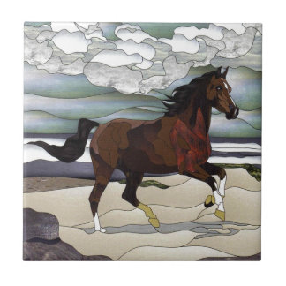 Stained glass horse tile