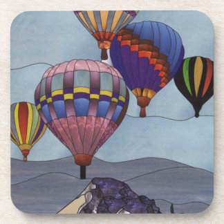 Stained glass hot air balloons drink coaster