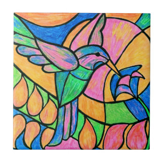 Stained Glass Hummingbird Tile