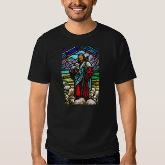 Stained glass image of Jesus print t-shirt