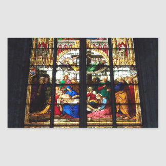 Stained-glass image rectangular sticker