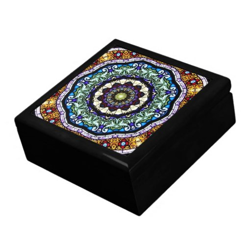 Stained Glass Kaleidoscope #2 Large Square Gift Box
