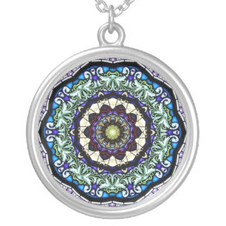 Stained Glass Kaleidoscope #2 Silver Plated Necklace