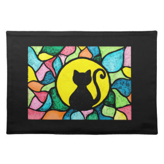 Stained Glass Kitty black background placemats