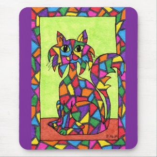 Stained Glass Kitty Mouse Mat
