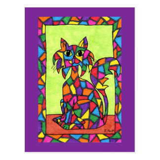 Stained Glass Kitty Postcard