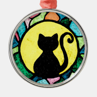 Stained Glass Kitty Watercolor ornament