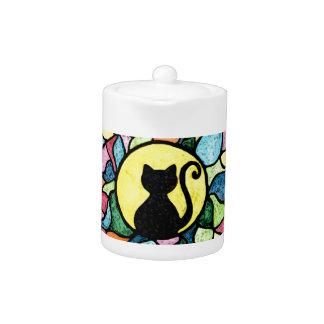 Stained Glass Kitty Watercolour Tea Pot