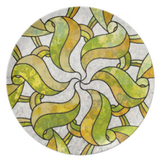 Stained Glass Leaf Nouveau Party Plate