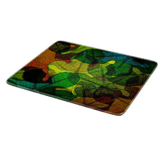 stained glass leaves abstract art cutting boards