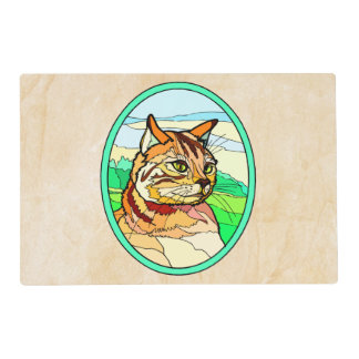 Stained Glass Look Cat 1 Laminated Placemat