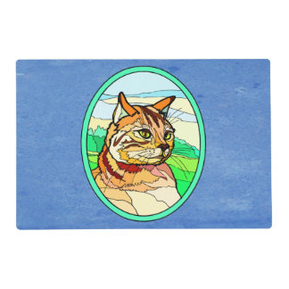Stained Glass Look Cat 1 Laminated Place Mat