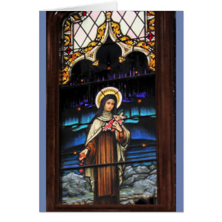 Stained Glass look Catholic Saint Therese Card